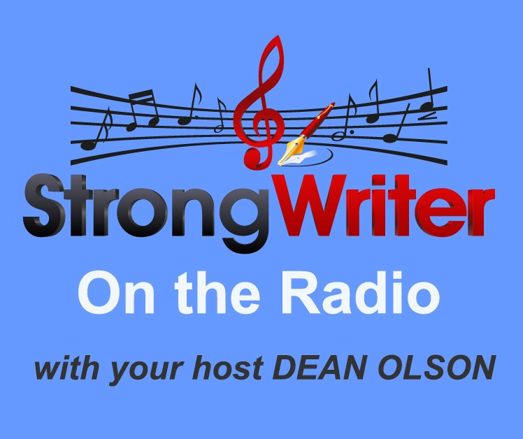 StrongWriter banner - sky blue ON THE RADIO WITH ... cropped